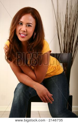 Beautiful Model Pose On Chair