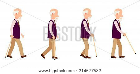 poster of Aged person with cane long thin stick with curved handle that can be use to help walk. Man process of movement colorful vector illustration