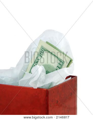 Money In Red Gift Box