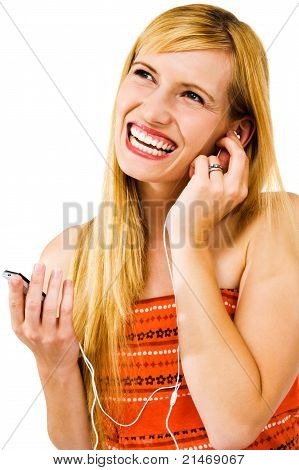Cheerful Woman Listening Mp3
