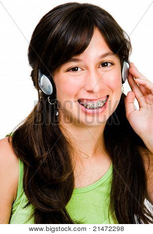 Teenage Girl Listening Music