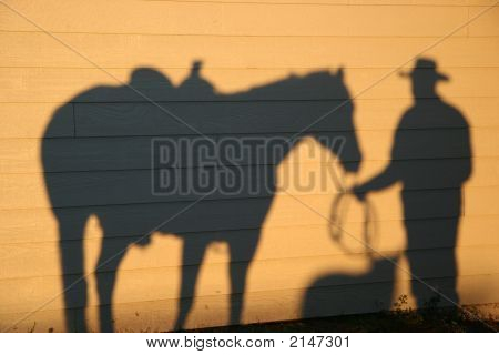 Horse Shadow With Cowboy And Dog