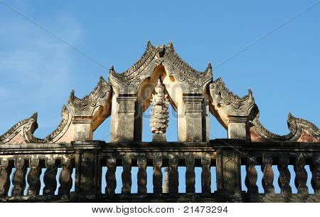 Bodhisattva on the roof of old temle in Bagan (Myanmar)