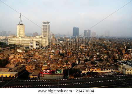 Skyscrapers and slums in Cairo (Egypt)