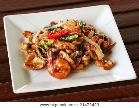 Shrimps with cashew nuts. The image with path.