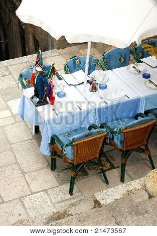 A typical European street restaurant in Dubrovnik (Croatia)
