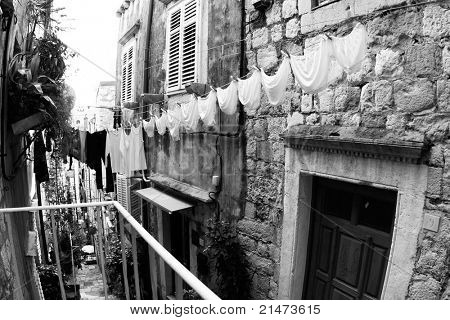 A clothesline of laundry drying. (Dubrovnik, Croatia)