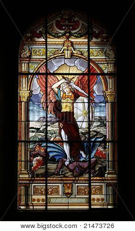 Stained-glass window of The Cathedral Basilica of St. Joseph, large Roman Catholic church located in Downtown San Jose.