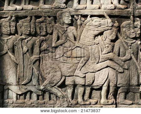 Khmer warriors from the bas-relief of Bayon Temple in the Angkor Area near Siem Reap, Cambodia