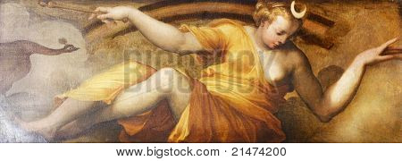 alte Fresko mit schönen Frau auftritt als Mond Palazzo Vecchio in Florenz.