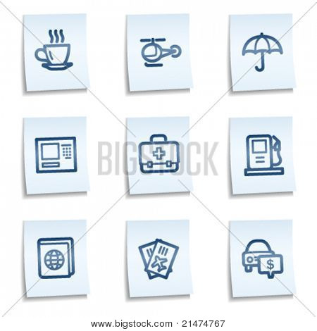 Travel web icons set 4, blue notes