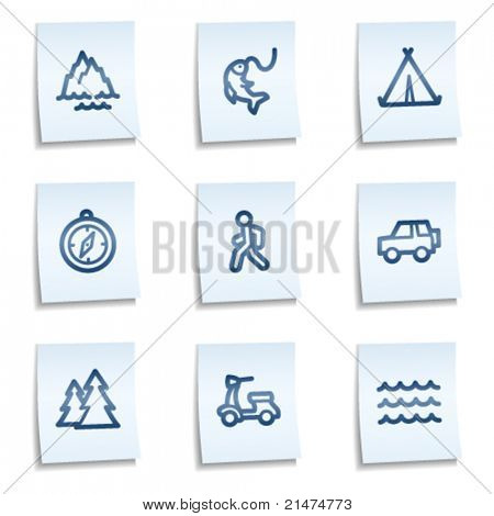 Travel web icons set 3, blue notes