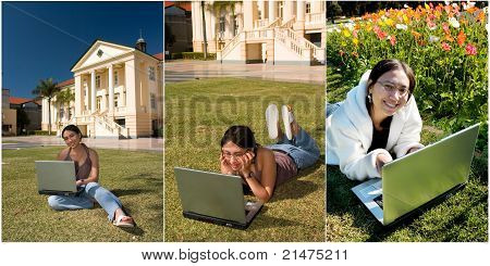 Attractive Asian Student Working On Her Assignments