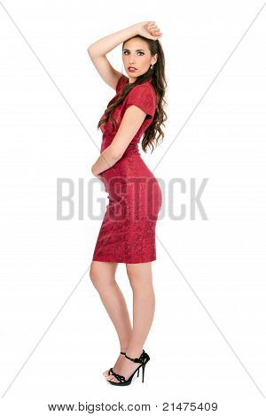 Seductive Woman In Red Dress