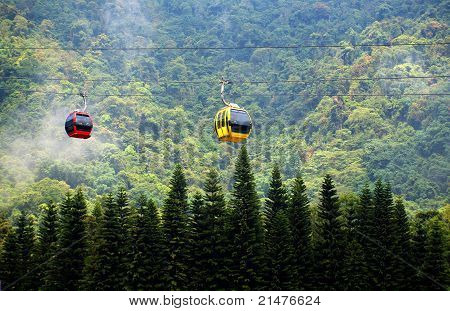 Cable Car Passes By A Mountain Slope