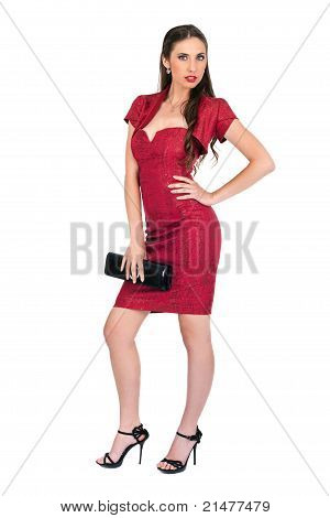 Fashionable  Sexy Woman In Red Dress