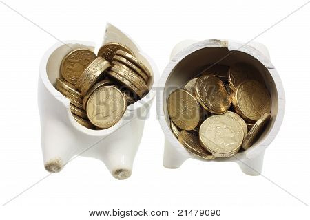 Broken Piggy Bank And Coins
