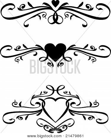 Set of Vector heart Scrolls