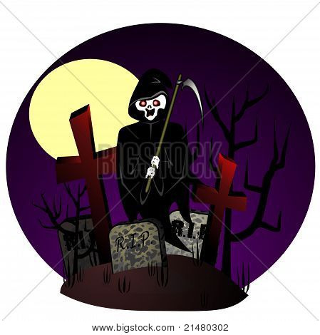 Reaper On Cemetery