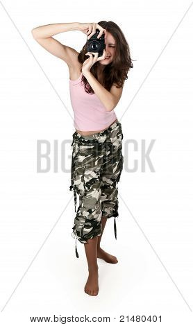 Girl In Khaki Pants Photographed