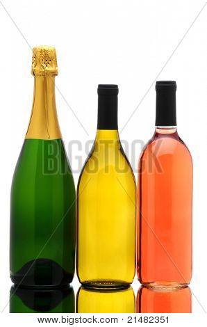 Bottles of Champagne, Chardonnay and White Zinfandel isolated on white with reflections in table top. Vertical Composition