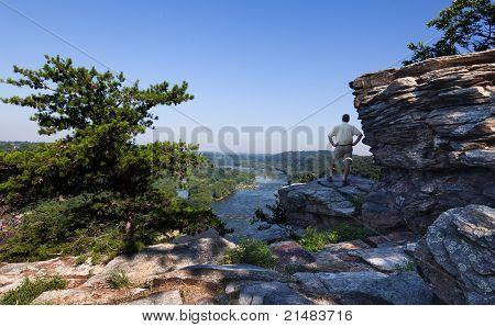 Hiker Overlook Harpers Ferry Landscape