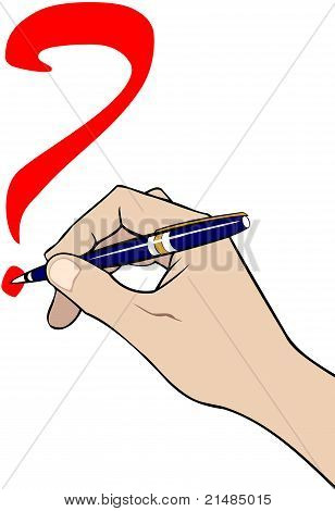 Hand With Pen Writing Question Mark