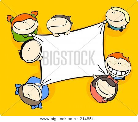Cute cartoon kids holding a canvas (raster version)