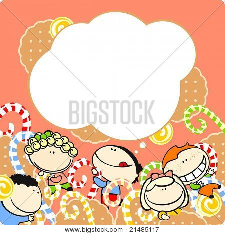 Kids and sweets (raster version)