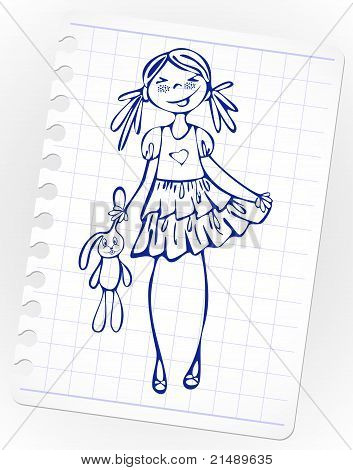 Hand-drawn fashion smile girl