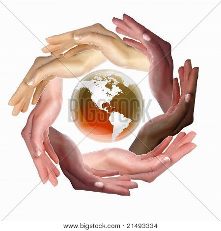 human hand and symbol of our planet