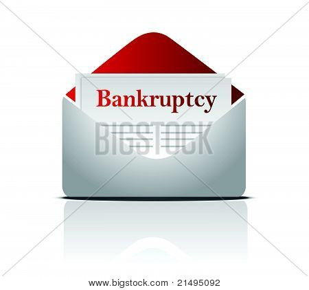 bankruptcy notice letter and envelope over a white background