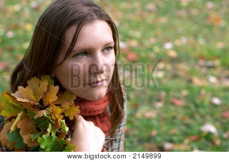 Beautiful Young Woman In The Park