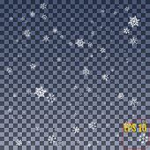 Snowflake Vector. Falling Christmas Snow Fall Isolated. Snowflak poster