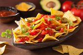 nachos loaded with salsa, guacamole, cheese and jalapeno poster