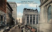 NEW YORK CITY - CIRCA 1912: Vintage postcard depicting 42ND Street, West from Grand Central Station