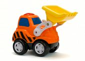 picture of monster-truck  - Funny orange toy excavator isolated on white background - JPG