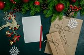 Christmas Background Or Xmas Card  With Decorations Fir, Gift Box And Ornamen. Space For Holiday Gre poster