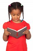 foto of girl reading book  - African little girl reading a book isolated on a over white - JPG