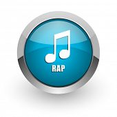 Rap music blue silver metallic chrome border web and mobile phone icon on white background with shad poster