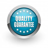 Quality guarantee blue silver metallic chrome border web and mobile phone icon on white background w poster