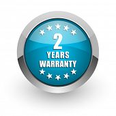 Warranty guarantee 2 year blue silver metallic chrome border web and mobile phone icon on white back poster