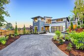 Modern Craftsman Style Home Exterior. poster