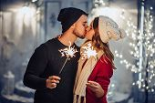 Couple Outdoor In Winter poster