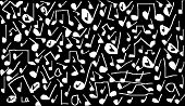 pic of treble clef  - a drawing of white music notes on a black background - JPG