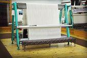 picture of handloom  - Close up of rug loom in weaving shop - JPG