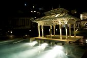 foto of pergola  - Pavilion near the pool in hotel at night - JPG