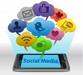 picture of  media  - Social media concept with speech bubbles on smartphone - JPG