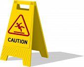 stock photo of slip hazard  - Wet floor and cleaning in progress sign - JPG