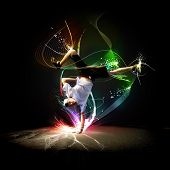 picture of rap-girl  - Street dancer in a white shirt on an abstract background - JPG